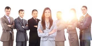 Business woman with a multi-ethnic business team Stock Photography