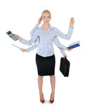 Business woman multi tasking. Isolated business woman multi tasking Royalty Free Stock Photos