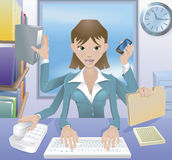 Business woman multitasking illustration Stock Photos