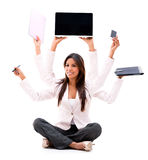 Business woman multitasking Royalty Free Stock Images