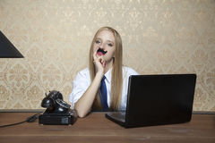 Business woman with a mustache Royalty Free Stock Photography
