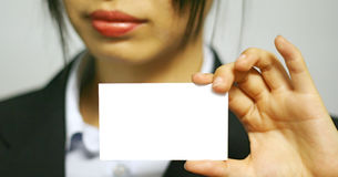 Business Woman With Name Card Royalty Free Stock Photo