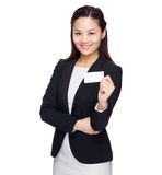 Business woman with name card Royalty Free Stock Images