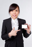 Business woman with name card Stock Photo