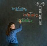 Business woman Nascar racing car fan on blackboard background Royalty Free Stock Photo
