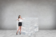 Business woman near big ice cube Stock Image