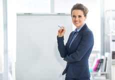 Business woman near flipchart Stock Photography