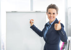 Business woman near flipchart showing thumbs up Royalty Free Stock Photo