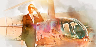 Business woman near the helicopter Stock Images