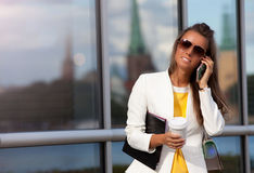Business woman near office Royalty Free Stock Photography