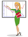 Business woman near to the schedule. royalty free illustration