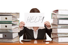 Business woman needs help to manage work Royalty Free Stock Photos