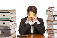 Business woman needs help to manage work royalty free stock photography