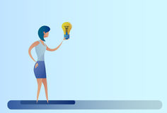 Business Woman New Creative Idea Concept Hold Light Bulb Royalty Free Stock Photography