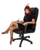 Business woman with new year hat Stock Photos
