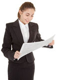 Business woman with newspaper Royalty Free Stock Image