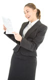 Business woman with newspaper Royalty Free Stock Images
