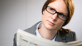 Business Woman with Newspaper Stock Photos