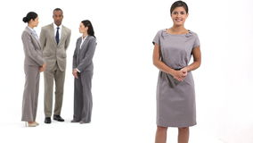 Business woman next to business team speaking Royalty Free Stock Photography