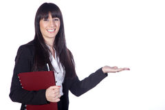 Business woman with note. Sympathetic business woman with note Royalty Free Stock Image