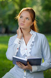 Business woman with notebook Royalty Free Stock Photos