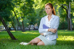 Business woman with notebook Stock Image