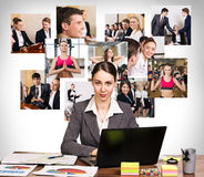 Business woman with notebook and collage Stock Images