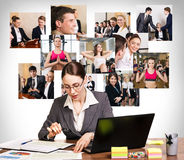 Business woman with notebook and collage Royalty Free Stock Photo