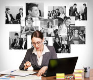 Business woman with notebook and collage Royalty Free Stock Photography