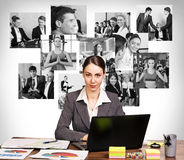 Business woman with notebook and collage Stock Photography