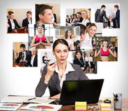 Business woman with notebook and collage Stock Photo