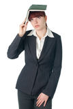Business woman with notebook on the head Royalty Free Stock Photos