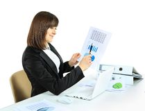 Business woman with notebook in office Stock Image