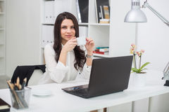 Business woman with notebook in office, workplace Stock Images
