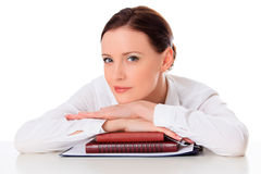 Business woman with notebooks Royalty Free Stock Images
