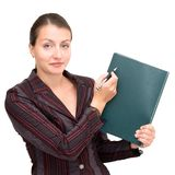 Business woman with notepad Stock Photography