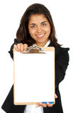 Business woman with a notepad Stock Photo