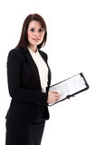 Business woman with notepad Royalty Free Stock Image