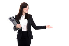 Business woman with notepad Royalty Free Stock Images