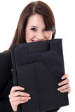 Business woman with notepad Royalty Free Stock Photography