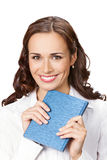 Business woman with notepad, isolated Stock Images