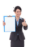 Business woman with notepad making ok Royalty Free Stock Photos