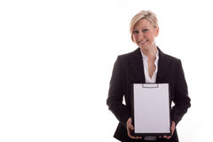 Business woman with a notepad unwritten Stock Photos