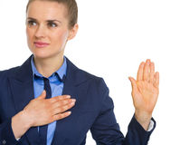 Business woman oath truth Royalty Free Stock Photography