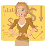 Business woman in ochre suit, smiling character on chart background, vector Stock Photos