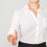Business woman offer handshake Stock Photos