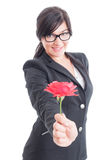 Business woman offering a flower Stock Images