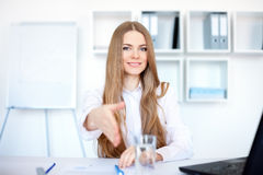 Business woman offering handshak Stock Photo