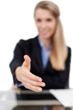 Business woman offering for handshake Stock Photos