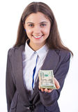 Business woman offering money Stock Images